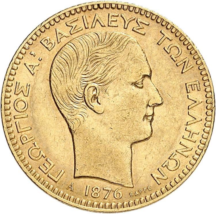 GRÈCE Georges Ier (1863-1913). 20 drachmes 1876, Paris.