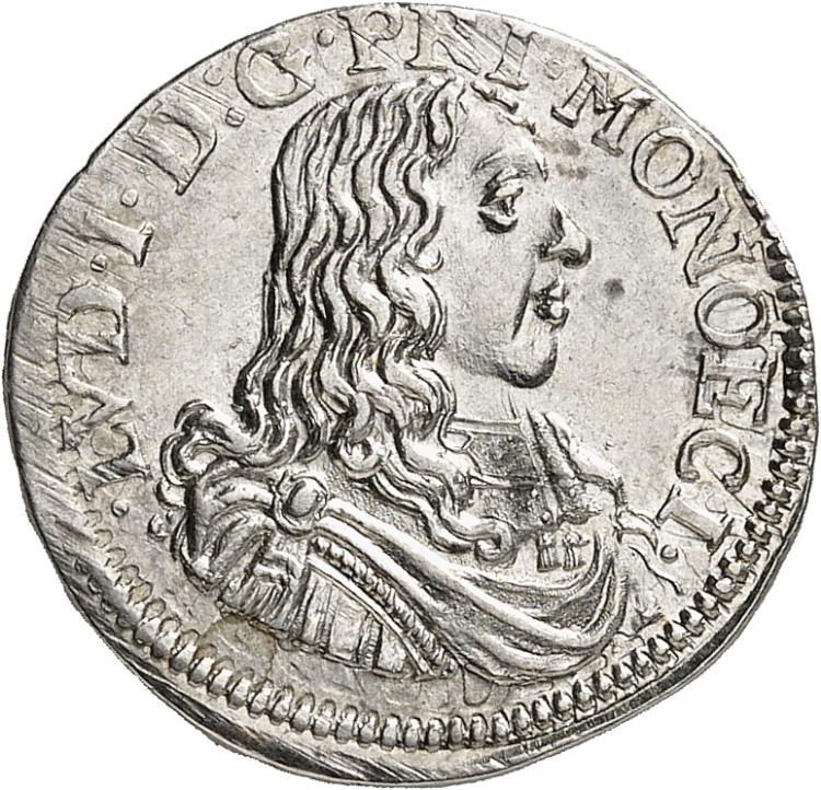 MONACO Louis Ier (1662-1701). 1/12 d'écu 1663.