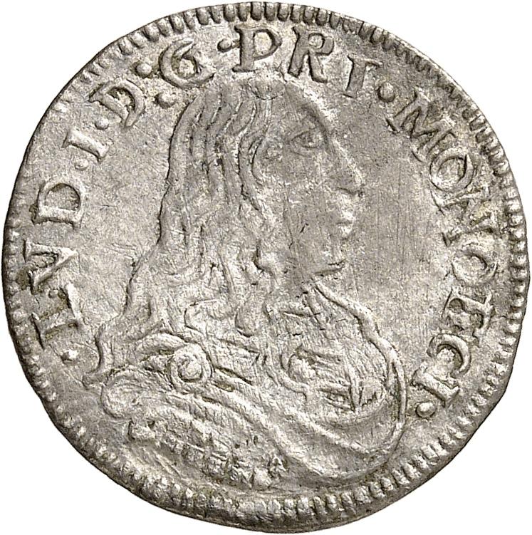 MONACO Louis Ier (1662-1701). 1/12 d'écu 1664.