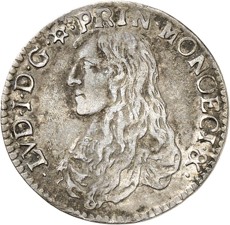 MONACO Louis Ier (1662-1701). 1/12 d'écu 1665.