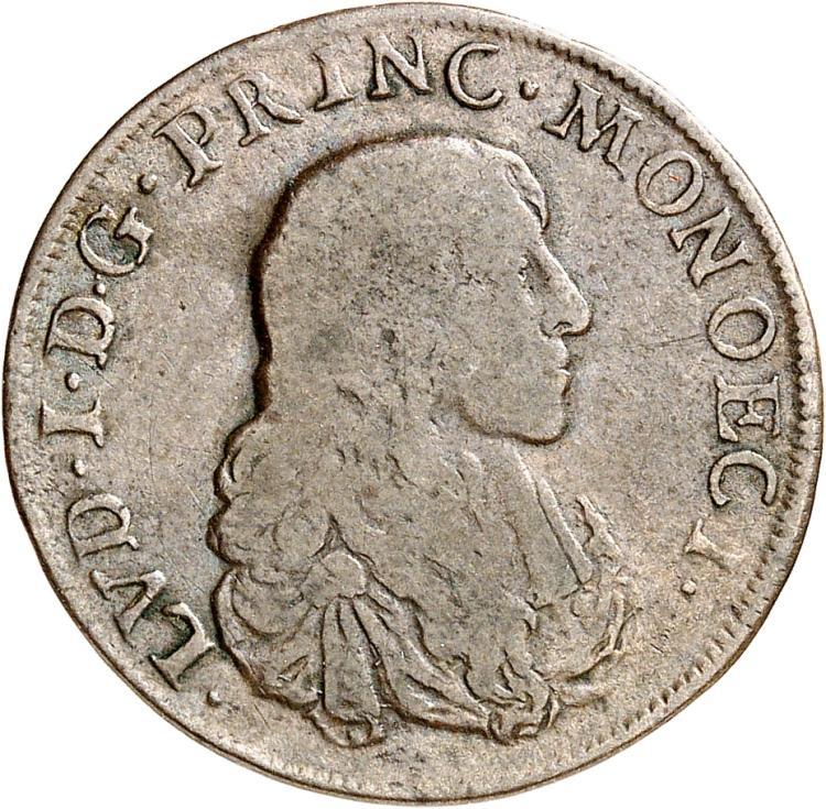 MONACO Louis Ier (1662-1701). Pezzetta 1673.