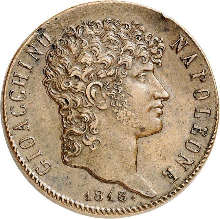 ITALIE Naples, Joachim Murat (1807-1813). Médaille frappée avec le coin d'avers de la 5 lire 1813, en souvenir de l'inauguration de la place Murat.