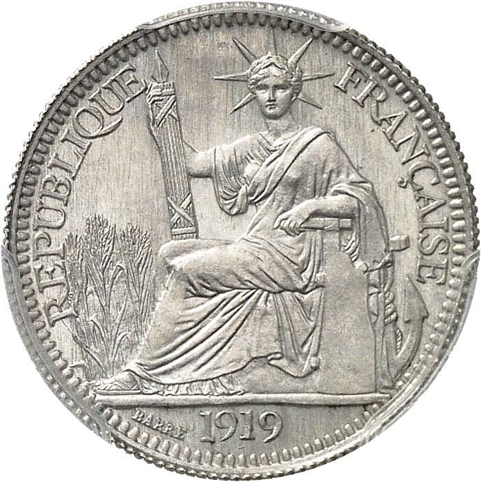 INDOCHINE 10 cent. 1919, Paris, essai de titre, poinçon 700/1000ème.