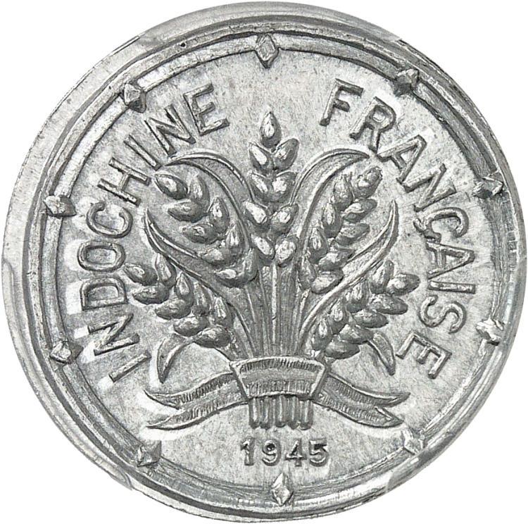 INDOCHINE 10 Cent 1945, essai en aluminium, ESSAI en creux, les lettres S inversées.