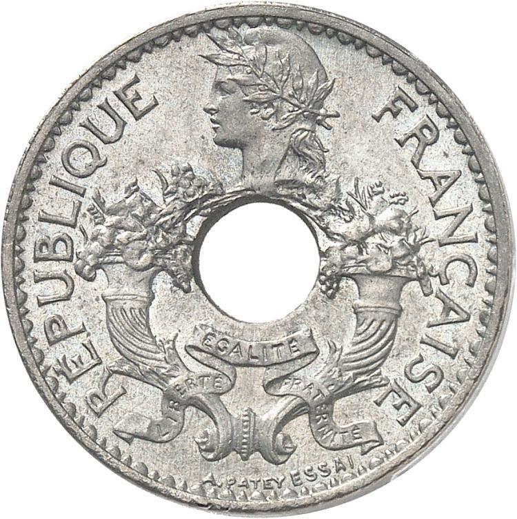 INDOCHINE 5 centimes 1923, Paris, piéfort, frappe médaille.