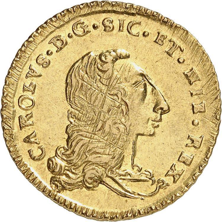 ITALIE Sicile, Charles de Bourbon (1734-1759). Double Once 1757.