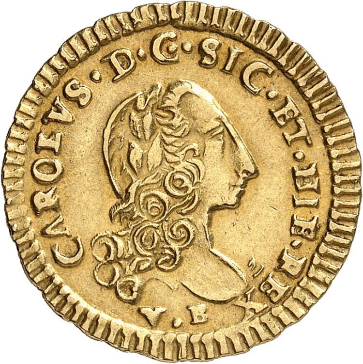 ITALIE Sicile, Charles de Bourbon (1734-1759). Once 1750.