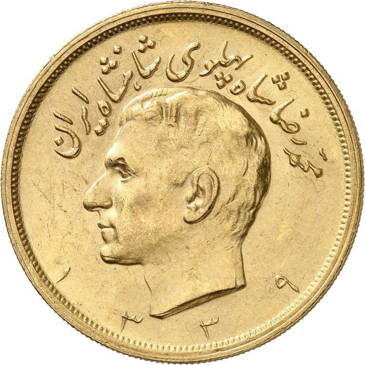 IRAN Mohammed Reza Pahlavi Shah (1941-1979). 5 pahlavi 1339 (1960).