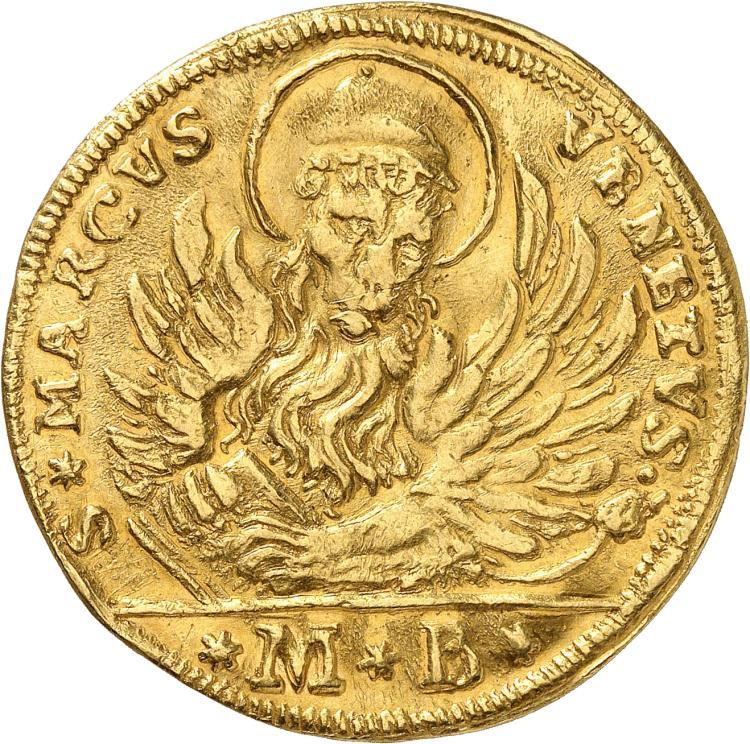 ITALIE Venise, Giovanni II Corner (1709-1722). Oselle d'or de 4 sequins 1718.