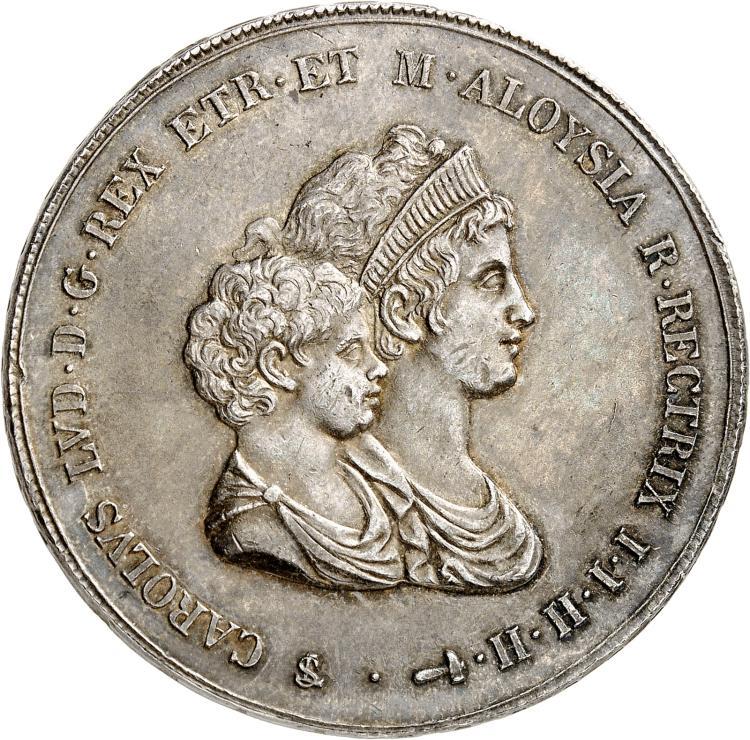 ITALIE Florence, Charles Louis de Bourbon, régence de Marie Louise (1803-1807). Francescone ou 10 Paoli 1807.