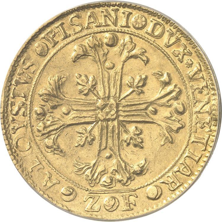 ITALIE Venise, Alvise Pisani (1735-1741). Frappe en or du scudo « della croce » au poids de 16 sequins.