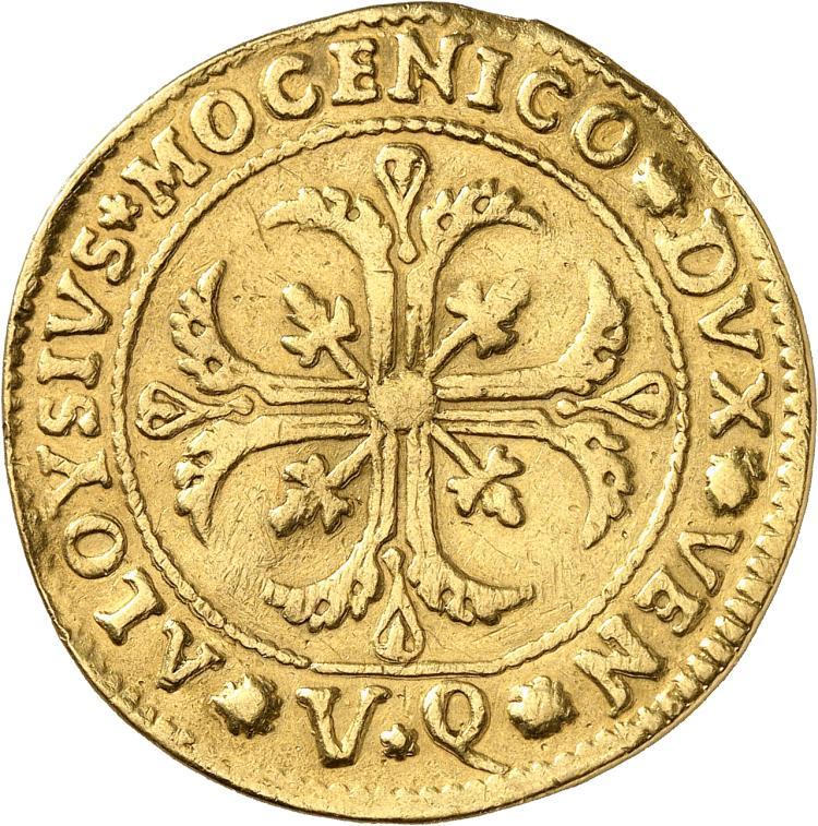 ITALIE Venise, Alvise Mocenigo IV (1763-1778). Frappe en or du ½ scudo à la croix, au poids de 5 sequins.