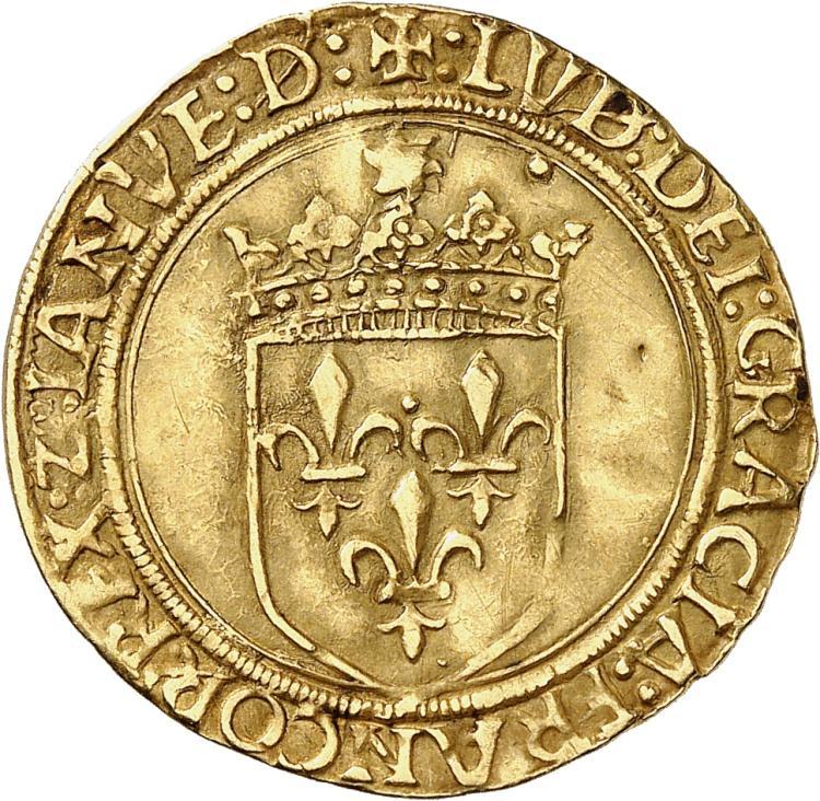ITALIE Gênes, Louis XII roi de France et seigneur de Gênes (1508-1512). Écu d'or au soleil, Gênes.