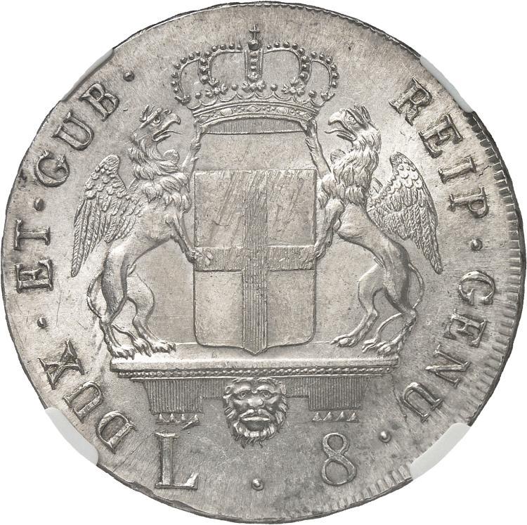 ITALIE Gênes, République (1528-1797). 8 lire 1796.
