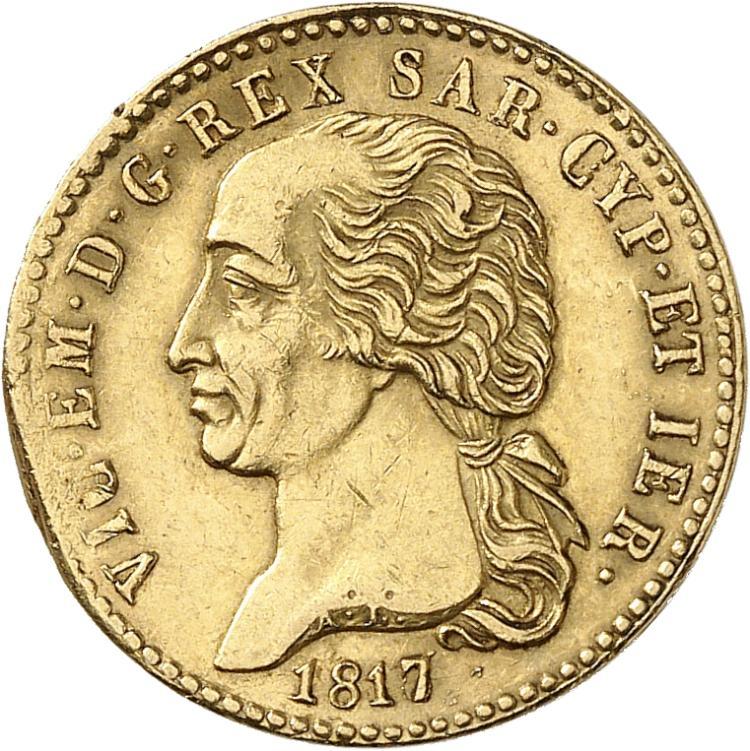 ITALIE Victor Emmanuel Ier (1802-1821). 20 lire 1817, Turin.