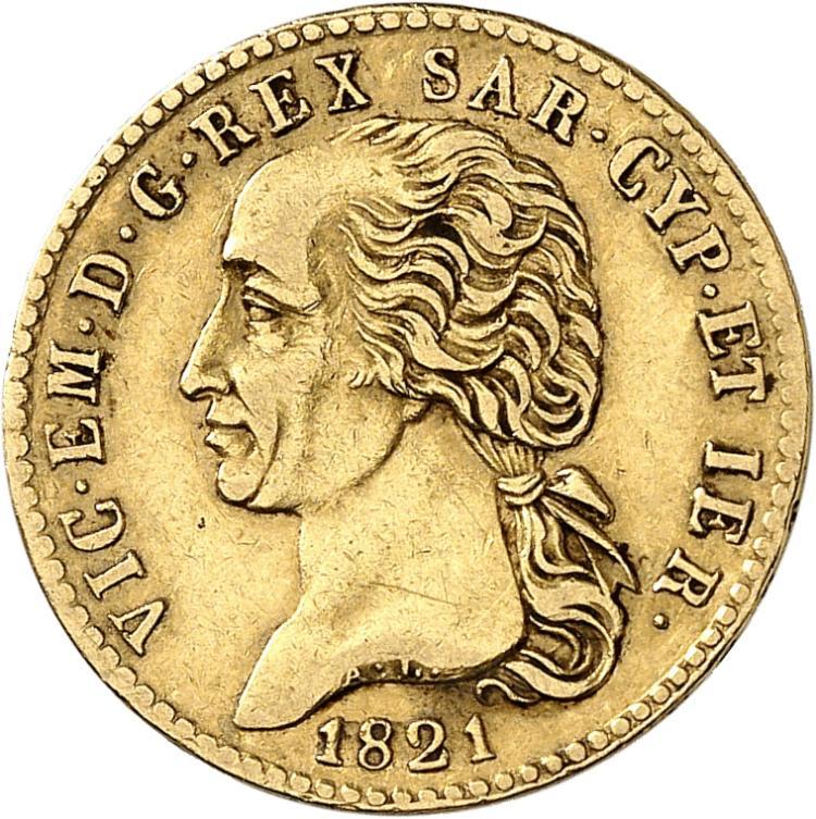 ITALIE Victor Emmanuel Ier (1802-1821). 20 lire 1821, Turin.