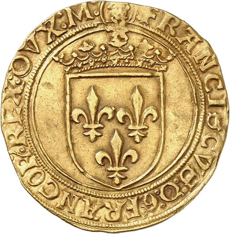 ITALIE Milan, François Ier, roi de France et duc de Milan (1515-1522). Écu d'or au soleil, Milan.