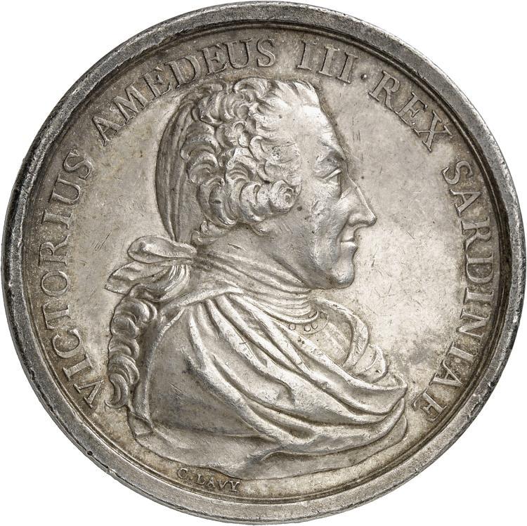 ITALIE Victor Amédée III (1773-1796). Médaille en argent 1789, frappée à l'occasion du mariage de Victor Emmanuel et de Marie-Thérése.