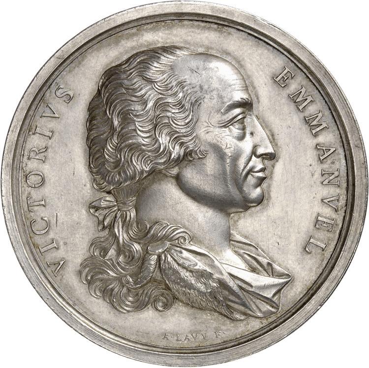 ITALIE Victor Emannuel I (1814-1821). Médaille en argent célébrant le retour du roi à Turin en 1814.