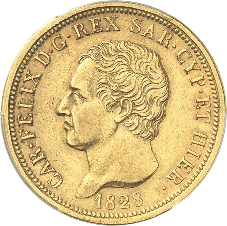 ITALIE Charles-Felix (1821-1831). 80 lire 1828, Turin, P.