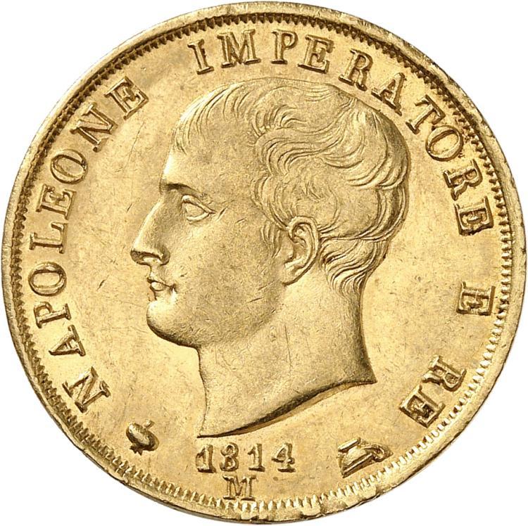 ITALIE Milan, Napoléon Ier Roi d'Italie (1805-1814). 40 lire 1814, Milan.