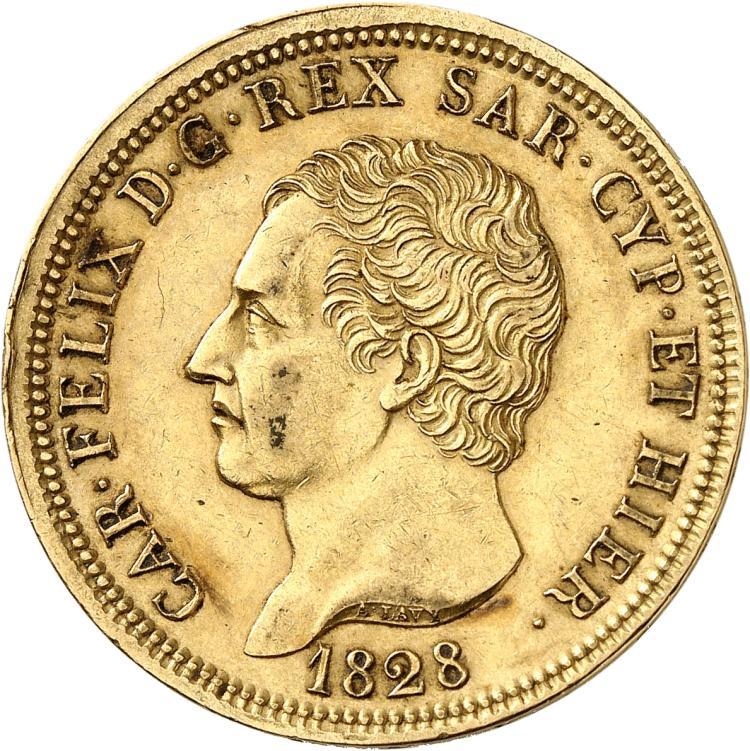 ITALIE Charles-Felix (1821-1831). 80 lire 1828 Gênes, frappe décentrée.