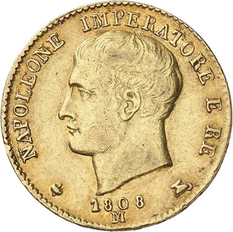 ITALIE Milan, Napoléon Ier Roi d'Italie (1805-1814). 20 lire Ier type 1808, Milan.