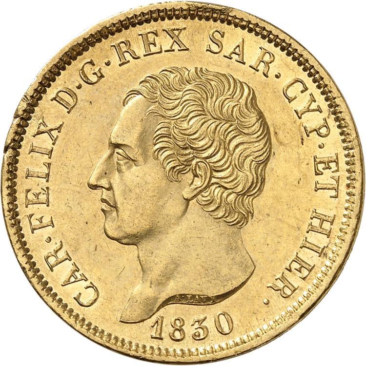 ITALIE Charles Felix (1821-1831). 80 lire 1830, Gênes.
