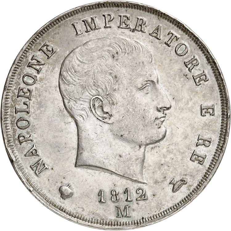 ITALIE Milan, Napoléon Ier Roi d'Italie (1805-1814). 5 lire 1812, Milan.
