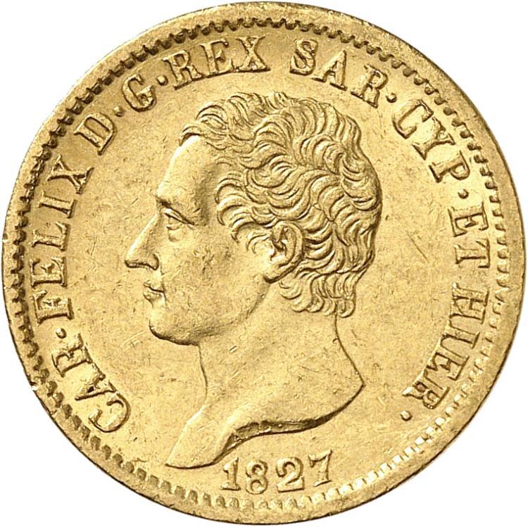 ITALIE Charles-Felix (1821-1831). 20 lire 1827, Turin.