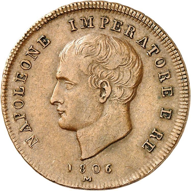 ITALIE Milan, Napoléon Ier (1805-1814). 2 centesimi 1806, Milan, essai à la tranche rubanée.