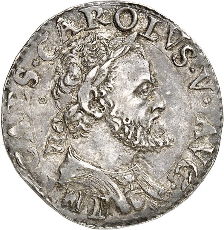 ITALIE Milan, Charles Quint (1535-1556). Quart de scudo.