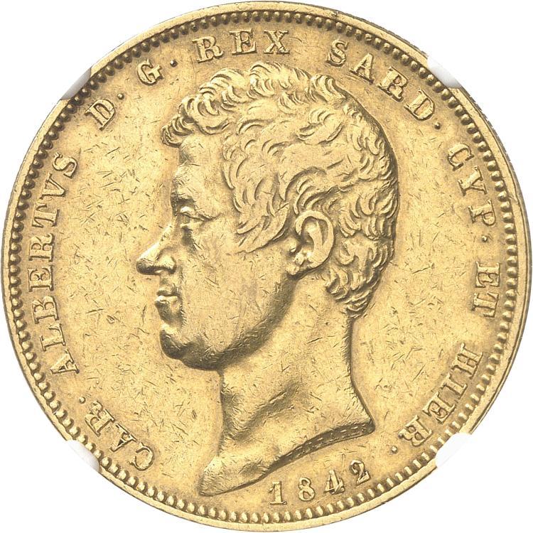 ITALIE Charles Albert (1831-1849). 100 lire 1842, Turin.