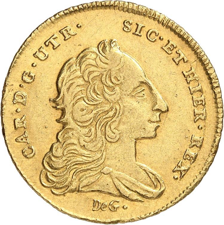 ITALIE Naples, Charles de Bourbon (1734-1759). 6 Ducat 1752.