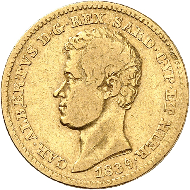 ITALIE Charles Albert (1831-1849). 10 lire 1839, Turin.