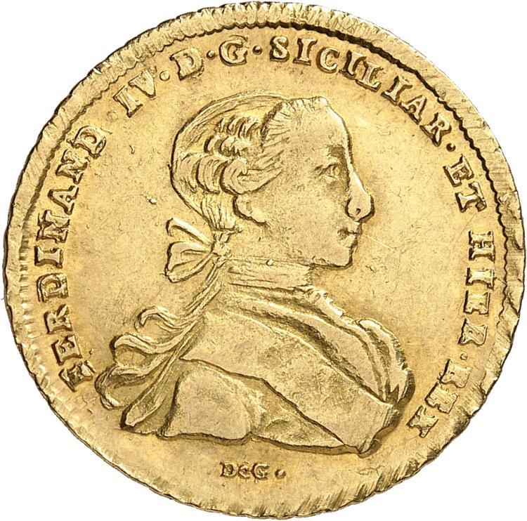 ITALIE Naples, Ferdinand IV de Bourbon (1759-1799). 6 Ducat 1765.