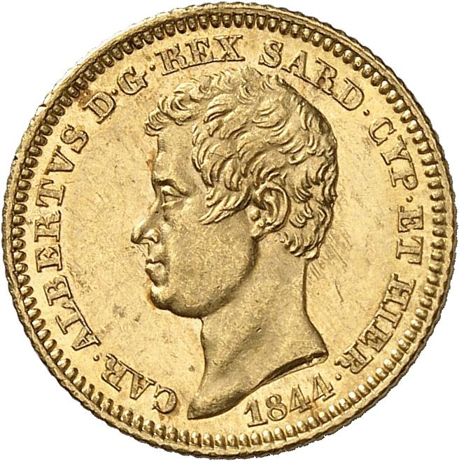 ITALIE Charles Albert (1831-1849). 10 lire 1844, Gênes.