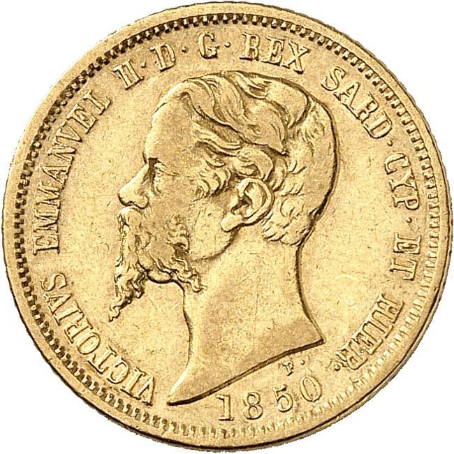 ITALIE Victor Emmanuel II (1849-1861). 10 lire 1850, Turin.