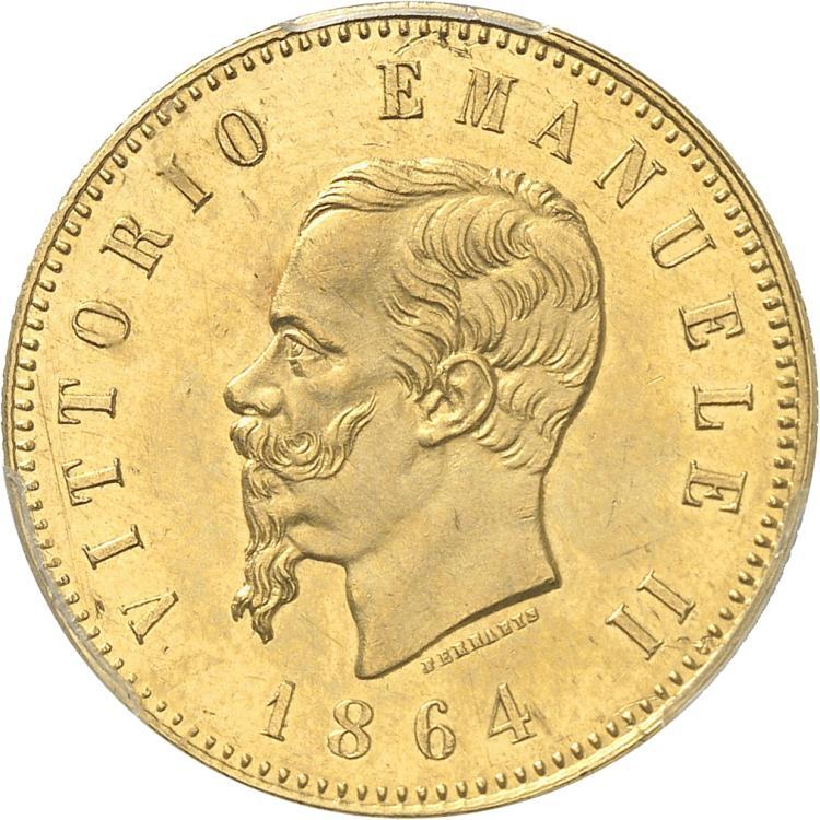 ITALIE Victor Emmanuel II (1861-1878). 50 Lire 1864, Turin.
