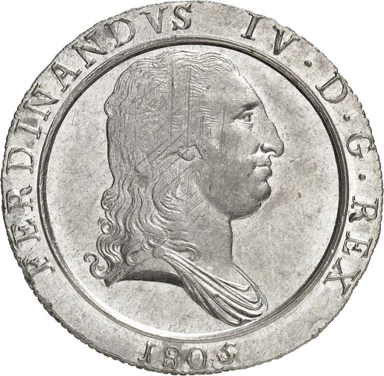ITALIE Naples, Ferdinand IV de Bourbon (1759-1816). Piastre de 120 grana 1805.