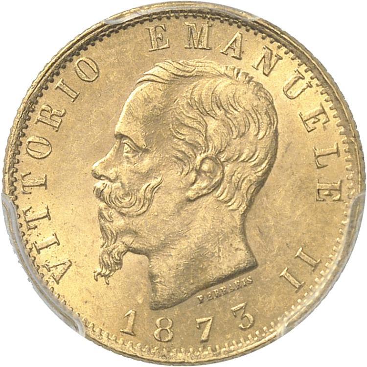 ITALIE Victor Emmanuel II (1861-1878). 20 lire 1873, Milan.