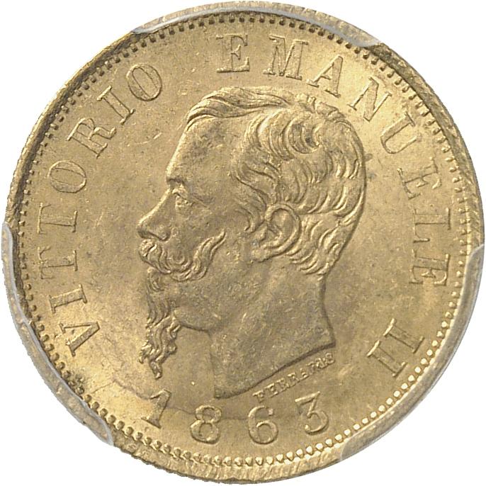 ITALIE Victor Emmanuel II (1861-1878). 10 lire 1863, Turin.