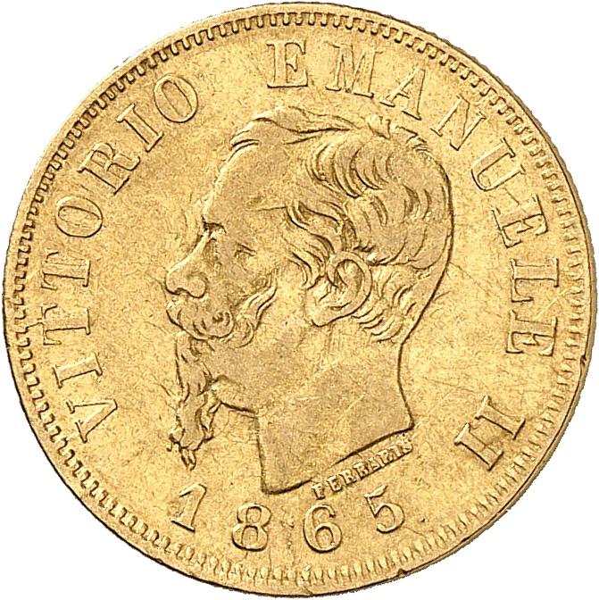ITALIE Victor Emmanuel II (1861-1878). 10 lire 1865, Turin.