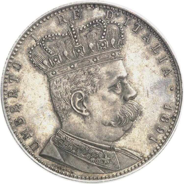 ITALIE Umberto Ier (1878-1900). 5 lire ou Tallero 1891, frappée pour l'Erythrée.