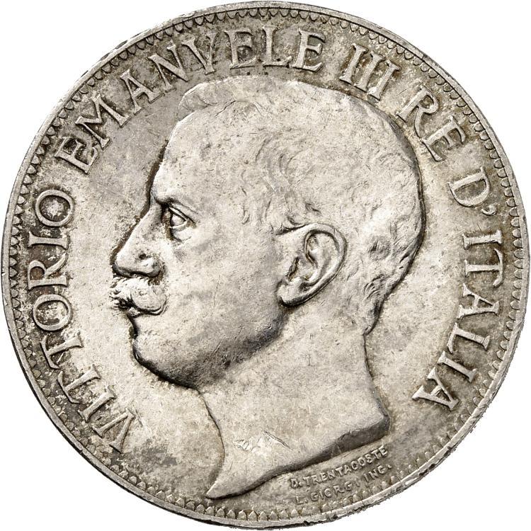 ITALIE Victor Emmanuel III (1900-1946). 5 lire 1911, Rome, frappée pour les 50 ans du royaume d'Italie.