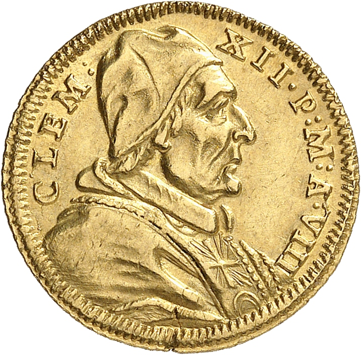 ITALIE Vatican, Clément XII (1730-1740). Scudo en or 1738, Rome.