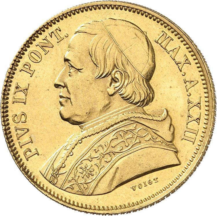 ITALIE Vatican, Pie IX (1846-1878). 50 lire 1868, Rome.