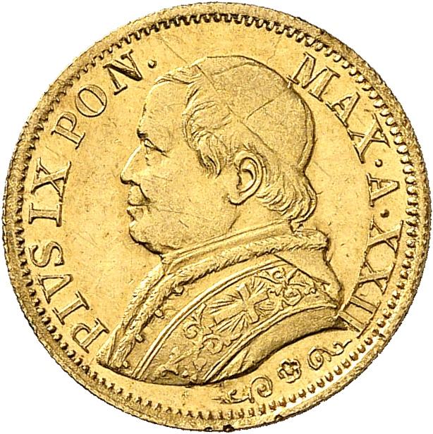 ITALIE Vatican, Pie IX (1846-1878). 5 lire 1867, Rome.