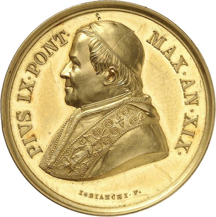 ITALIE Vatican, Pie IX (1846-1878). Médaille en or 1865 an XIX.