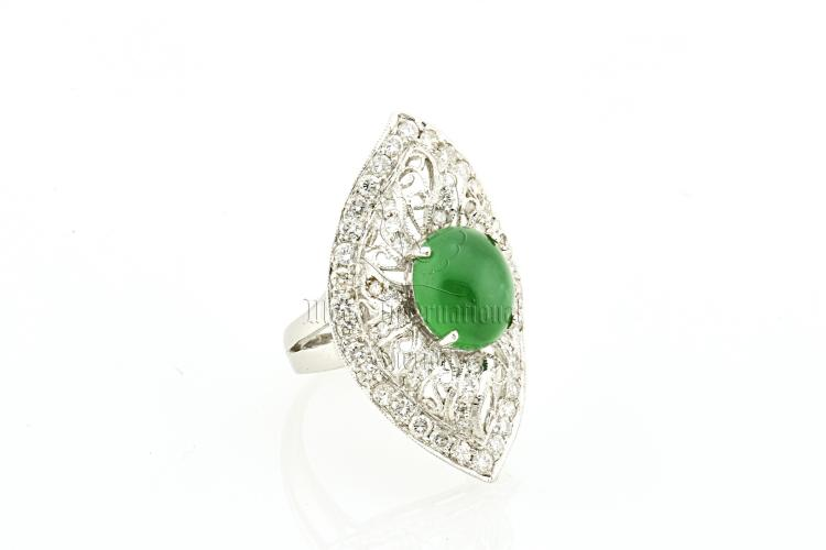 EMERALD GREEN JADEITE AND DIAMOND RING WITH GIA CERTIFICATE